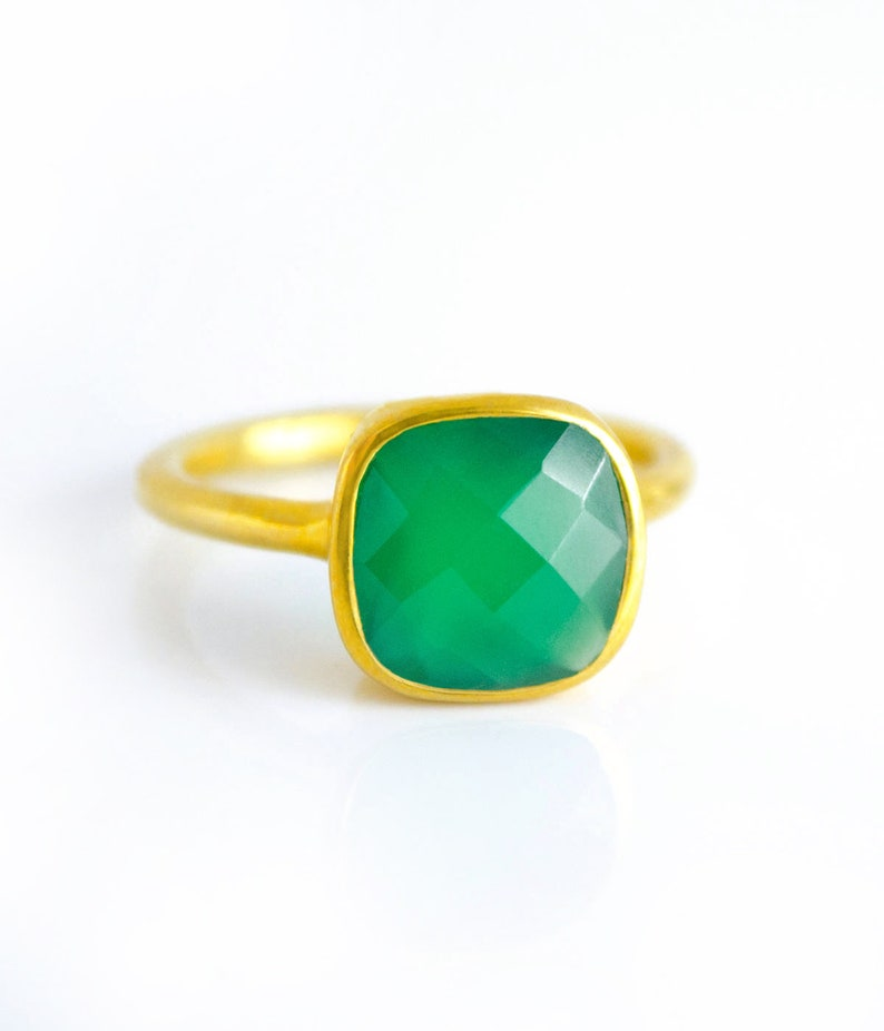 9677afdec Cushion Emerald Green Onyx Ring Square Gemstone Ring Gold or