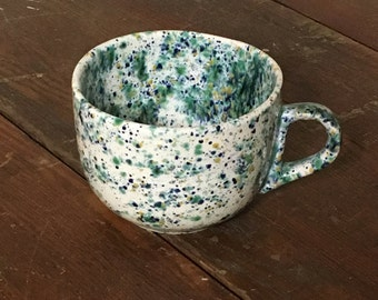 Soup Mug, Hand painted Mug, Speckle Paint, Ceramic Mug, Large Mug, Large Soup Mug, Soup Bowl, Lunch Dishes, country Kitchen, Handcrafted Mug