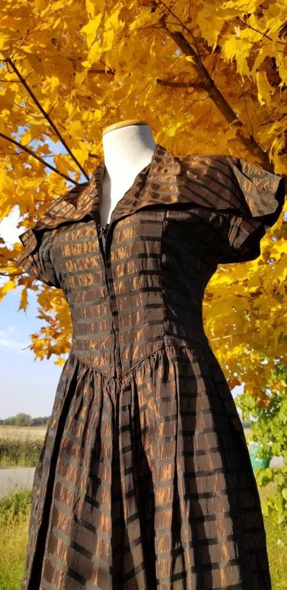 Copper 1940s Zipper Front Dress, Metallic Stripes