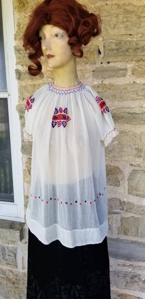 1930s Colorful Hungarian Embroidered Blouse, XS
