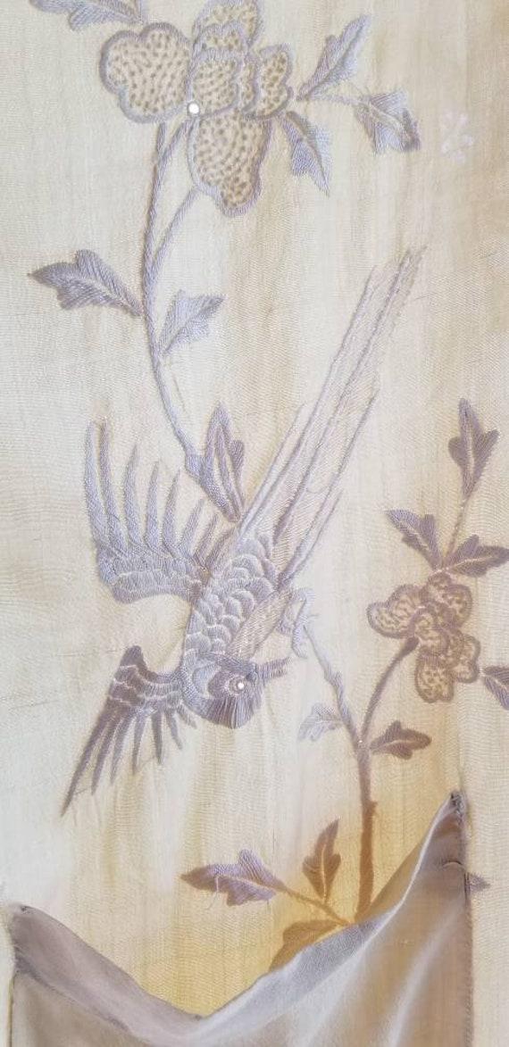 Stunning Embroidered Edwardian Pongee Silk Robe, B