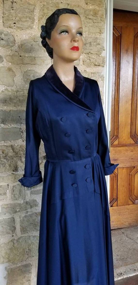 Authentic 1950s Fit and Flare Navy Princess Coat,