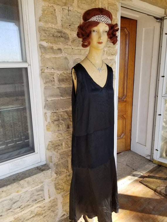 Authentic 1920s Black Silk Slip Dress XL True Vint