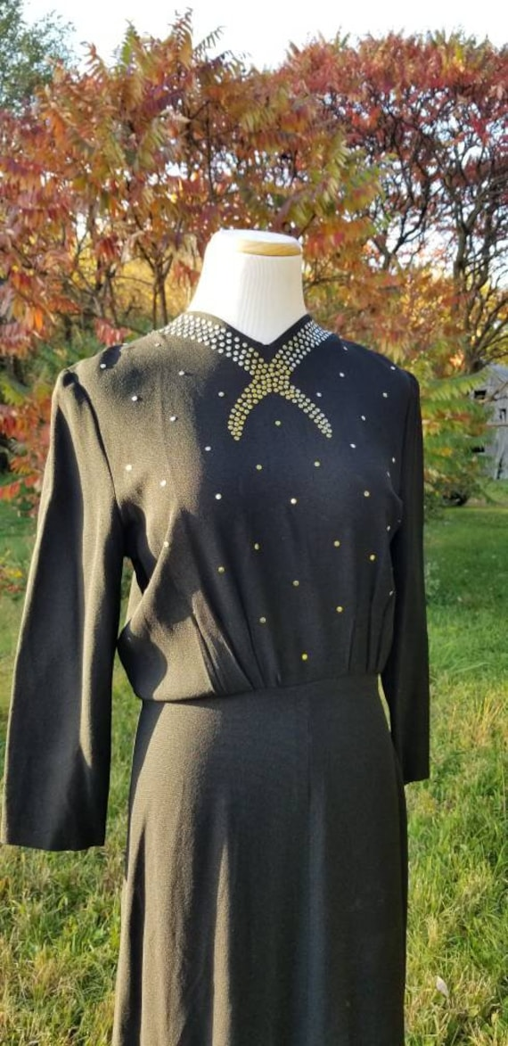 Silver studded 1940s cocktail dress, M