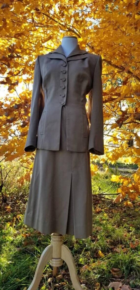 Authentic 1940s Tan Gabardine Suit, Skirt Blazer U