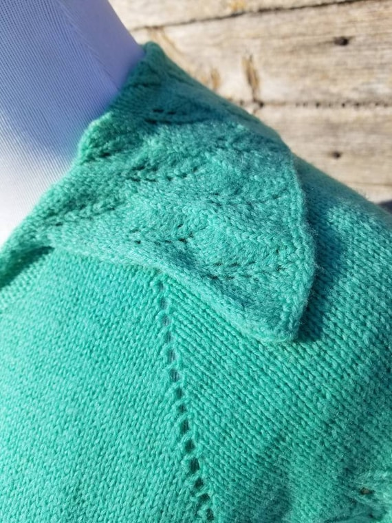 1930s Turquoise Handknit Sweater Dress S