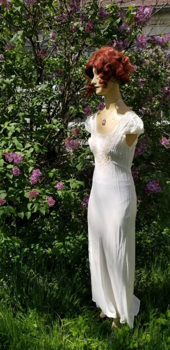 Authentic 1930s White Lace Silky Rayon Gown Dress… - image 5