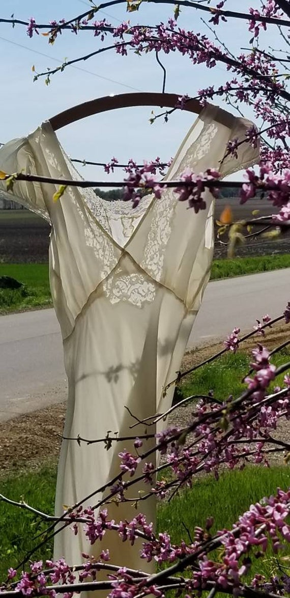 Authentic 1930s White Lace Silky Rayon Gown Dress… - image 1