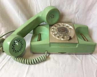 Vintage Monophone Type 182 Rotary Phone, Sea Foam Green Turquoise Telephone, Mid Century Modern Princess Phone Home Phone Retro Office Phone