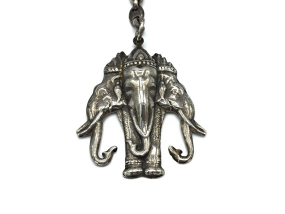 Vintage Silver Elephant Key Chain, Sterling Silver