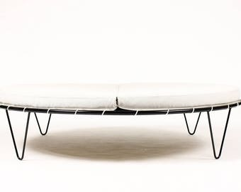 Mid Century Vintage Large Round Patio Chaise / Lounge — Pacific Iron Products — Sun Circle