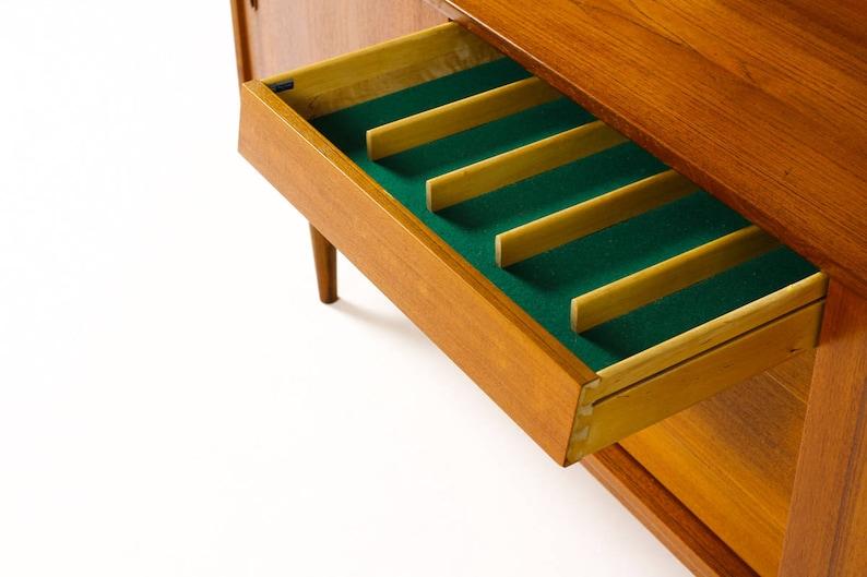 Danish Modern  Mid Century Teak Credenza \u2014 Nils Jonsson for Hugo Toeds \u2014 Sliding Doors