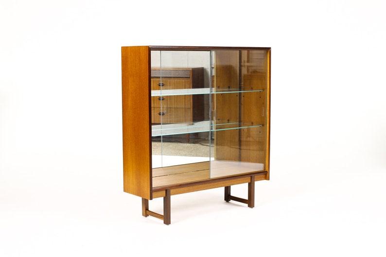Danish Modern  Mid Century Teak Display Cabinet  Bookshelf \u2014 Sliding Glass Doors