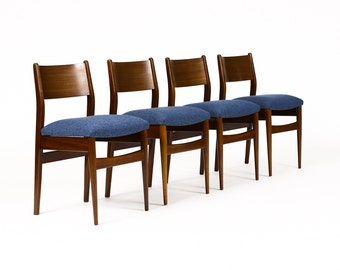 Danish Modern / Mid Century Dining Chairs — Mahogany Frames — Dark Blue textile — Set of Four