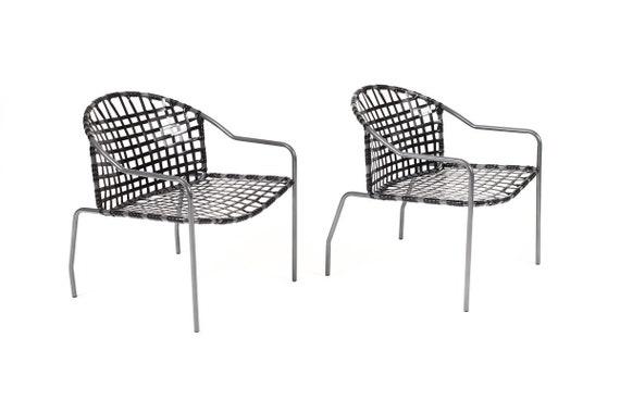 Amazing Vintage Mid Century Brown Jordan Patio Wide Seat Kantan Lounge Chairs Tadao Inouye Early Iron Frames Pair Evergreenethics Interior Chair Design Evergreenethicsorg