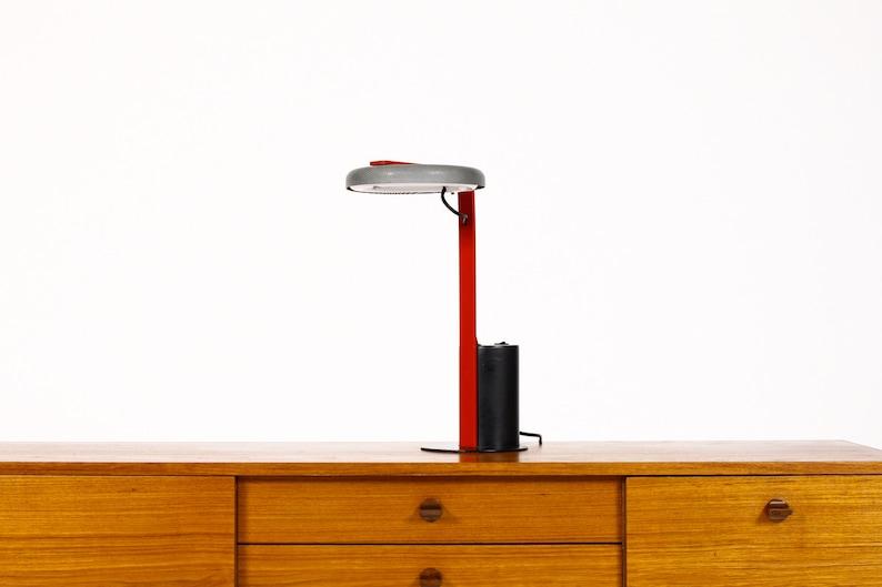 Enjoyable Vintage Memphis Designer Desk Lamp By Ron Rezek Artemide Black Charcoal Grey W Red Detail Home Interior And Landscaping Ologienasavecom
