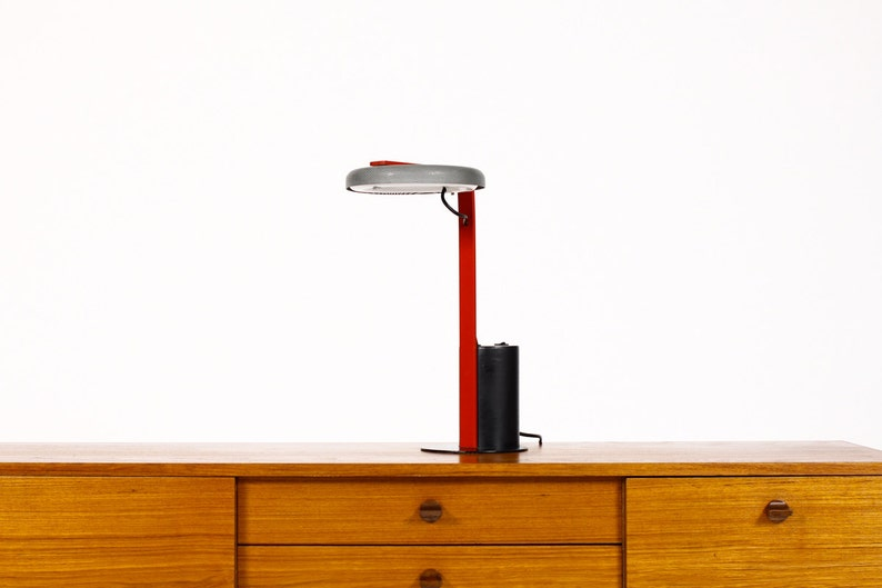 Surprising Vintage Memphis Designer Desk Lamp By Ron Rezek Artemide Black Charcoal Grey W Red Detail Home Interior And Landscaping Ologienasavecom