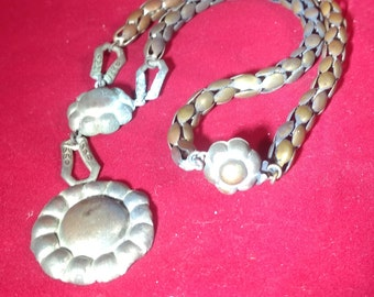 """Antique BRASS TIN? NECKLACE 17""""-Old European-Stamped Plate-Unusual Old-World Design-Light Weight-Chech/Slavic"""