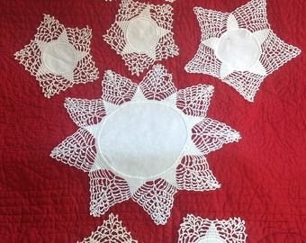 "Lot of 7 DOILIES-Three Sizes-All Same Pattern-Largest 12"", Smallest 6"""