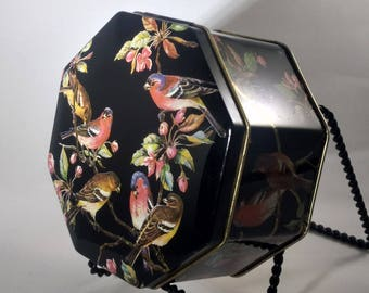 Octagonal ENGLISH TIN-Hinged-Black with Bright Colors & Birds on Branches