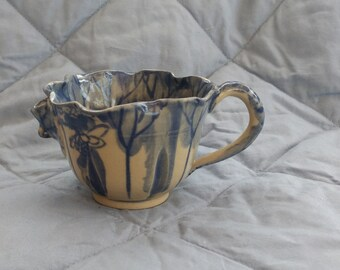 Vintage Handmade Pottery CREAMER-Pond Scene-Water Lilly Spout-Painted Crab Inside-Delicate-Scalloped Edge-Cobalt Blue