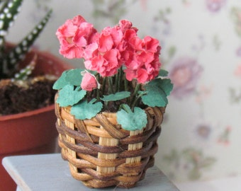 Dollhouse Geranium Plant in Wicker Basket Handcrafted