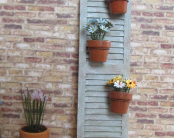 Shabby Chic Rustic Shutter Dollhouse Decoration with Potted Plants 12th Scale