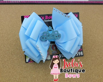 light blue boutique bow with crown