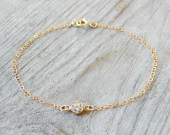Tiny diamond bracelet, Dainty bracelet, Gold Bracelet, Small bracelet, Delicate bracelet, Dainty gold bracelet, Gift for her