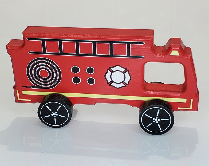 Featured listing image: Reclaimed Wooden Toy Fire Truck |Detroit Fire Department Headquarters, Detroit, MI