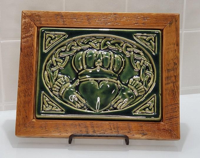 Featured listing image: Framed Pewabic Celtic Claddagh Ring Tile|1321 Labrosse- Corktown, Detroit
