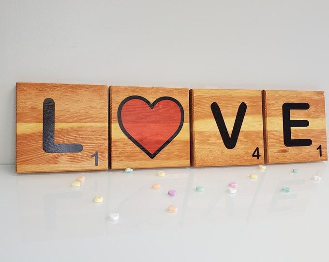 Featured listing image: LOVE Scrabble Tile | Reclaimed Gymnasium Bleachers | Schoolcraft College, Livonia, MI