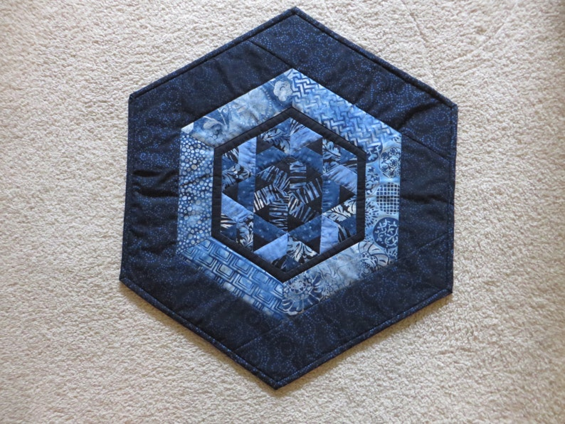 Table Topper  Batik Table Topper  Quilted Table Topper  Blue Batik Table Topper