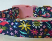 Floral Dog Collar, Dog Collars, Pink, Coral, Yellow, Pink, Blue, Ice Frappe White on Navy, Puppy Collar, Girl Dog Collar - quot Fiona quot