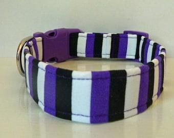 60e1fb85 Purple Stripe Collar, Halloween Dog Collar, Striped Dog Collar, Girl Dog  Collar, Boy Dog Collar, Personalized Collar -