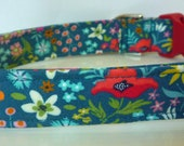 Floral Dog Collar, Dog Collars, Red, Orange, Coral, Yellow, Pink, Ice Frappe White on Dark Teal, Puppy Collar, Girl Dog Collar - quot Maddie quot