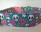 Halloween Dog Collar, Day of the Dead, Skulls Flowers, Dog Collar, Girl Dog Collar, Eco Friendly Collar, Personalized Collar - quot Maria quot
