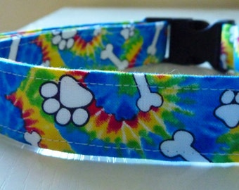 "Tie Dye Dog Collar - ""Woofstock""- Free Colored Buckles"