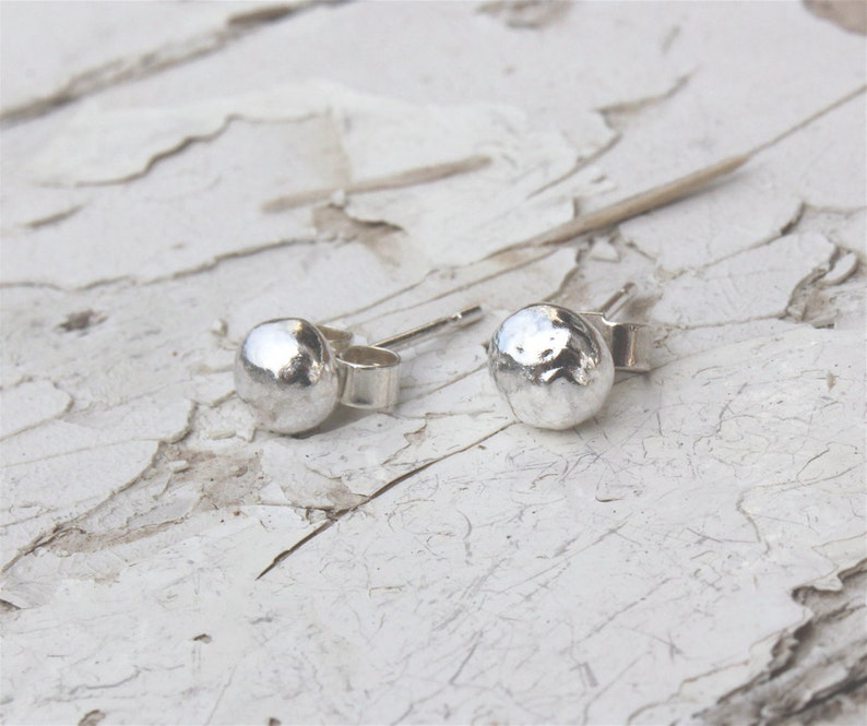 Solid Silver Pebble Studs ~ Handmade In Recycled Sterling Silver ~ Minimalist Studs ~ Silver Nugget Earrings ~ Free UK Shipping