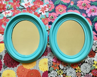Pair of Painted Vintage Oval Mirrors Wooden