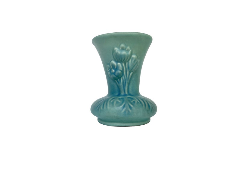 Midcentury Modern MCM 1940s Small Turquoise Vase with Floral Design