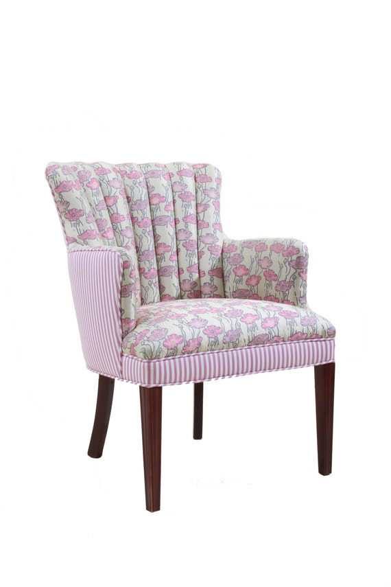 Refurbished Upholstered Arm Chair Pink Floral And Striped Etsy