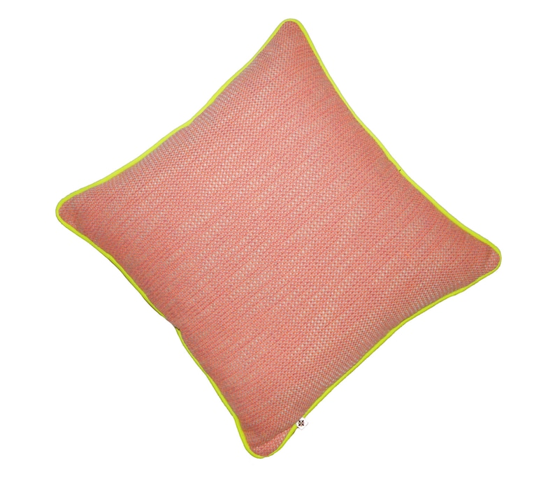18x18 inch pink and orange tweed pillow piped with neon yellow image 0