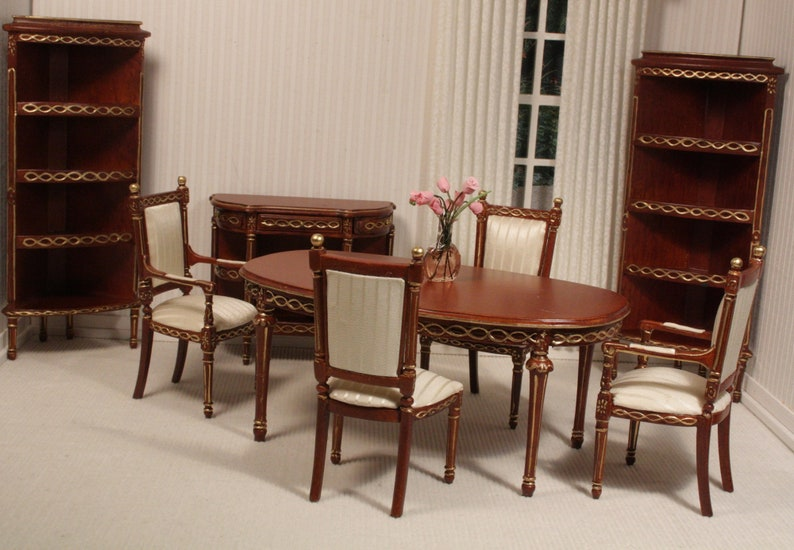 Vintage Miniature Dining Room Set In 1:12 Scale