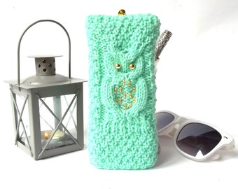 Soft Eyeglasses Case Knitted Reading Glasses Case Hand Knit Sunglasses Holder Spectacle Case for Her. Green and Lime Glasses Case
