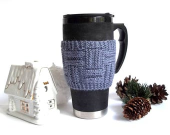 Knit Coffee Cup Cozy. Knitted Cup Cozy. Hand Knit Tea Cup Cosy. Pick Your Color.