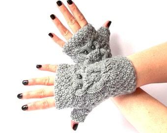 Grey Knit Owl Fingerless Gloves. Knitted Fingerless Mittens. Arm Warmers. Wrist & Hand Warmers. Women Accessories.
