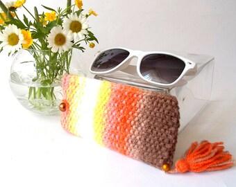 Orange Glasses Case. Reading Glasses Case. Knit Sunglasses Holder. Knitted Eyeglasses Case.