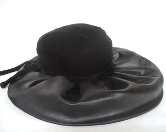 Vintage 1960 CHRISTIAN DIOR CHAPEAUX Womans Christian Dior Hat Velvet and  Black Silk Charmeuse Cool Vintage Hat Great Prop for Fashion Shoot 9032295edef
