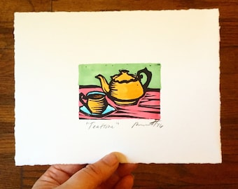 Teatime! Original Color Linocut Print 5x7